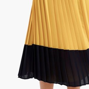 J. Crew colorblock pleated midi skirt navy/yellow